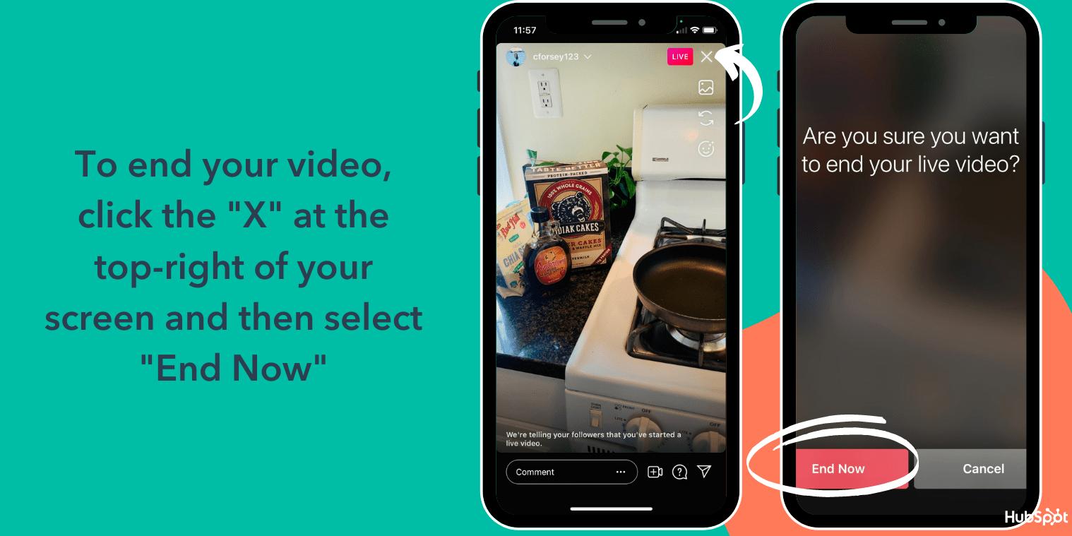Beenden Sie Ihr Instagram Live-Video, indem Sie oben rechts auf das X klicken