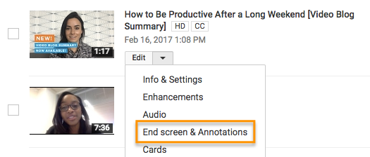 YouTube End Screen Call To Action