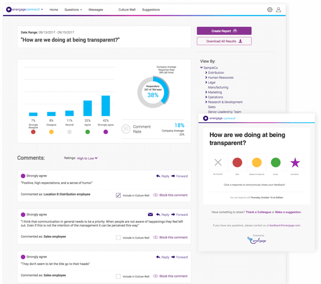 Employee engagement dashboard by Energage