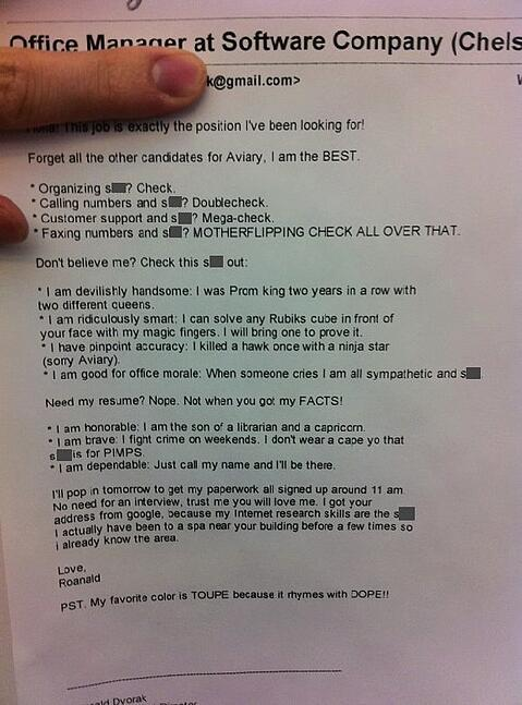 Overconfident cover letter example