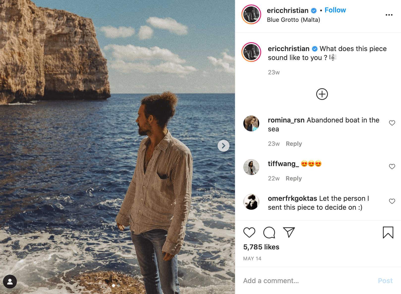 eric christian in front of an ocean on instagram