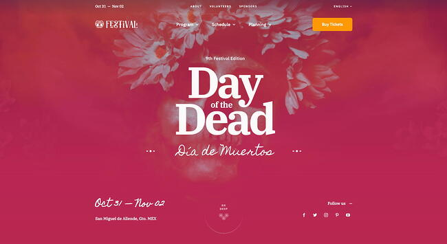 demo page for the event wordpress theme avada