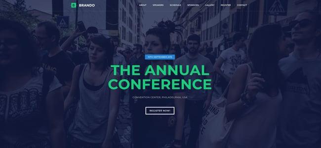 demo page for the event wordpress theme brando