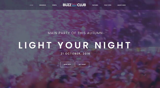 demo page for the event wordpress theme buzz-club