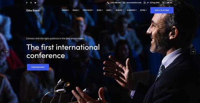 demo page for the event wordpress theme ekko
