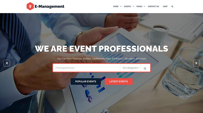 demo page for the event wordpress theme event management