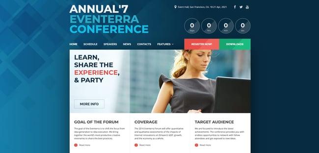 demo page for the event wordpress theme eventerra