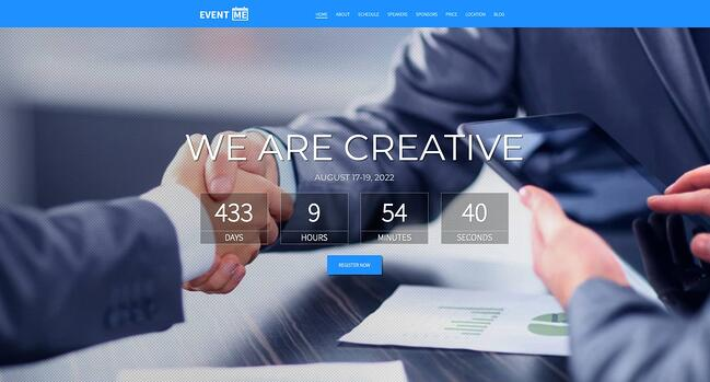 demo page for the event wordpress theme eventme