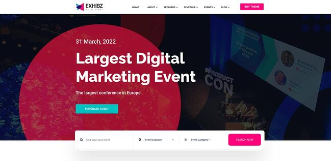 demo page for the event wordpress theme exhibz