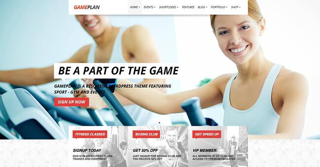 demo page for the event wordpress theme gameplan