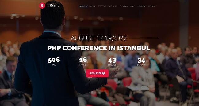 demo page for the event wordpress theme imevent