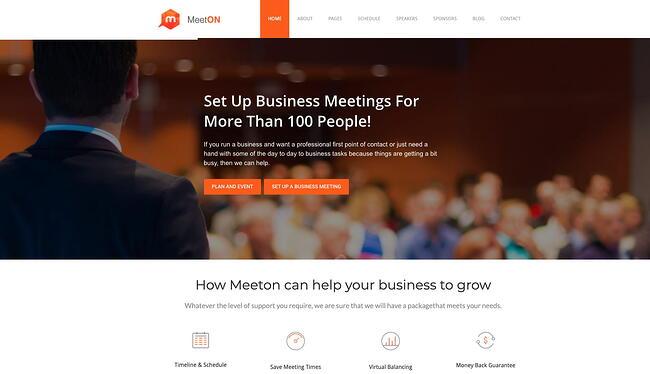demo page for the event wordpress theme meeton