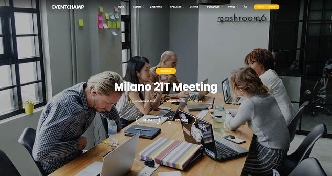 demo page for the event wordpress theme multiple-event-and-conference