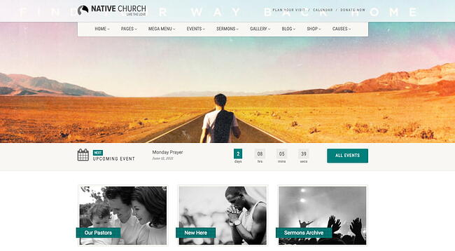 demo page for the event wordpress theme native-church