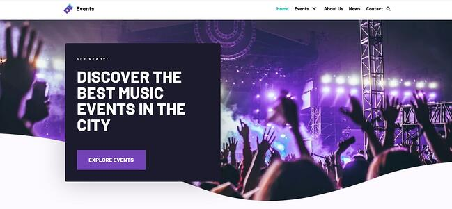 demo page for the event wordpress theme neve