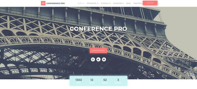 demo page for the event wordpress theme wordpress-for-conferences