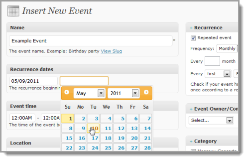sample event submission form page from events manager plugin