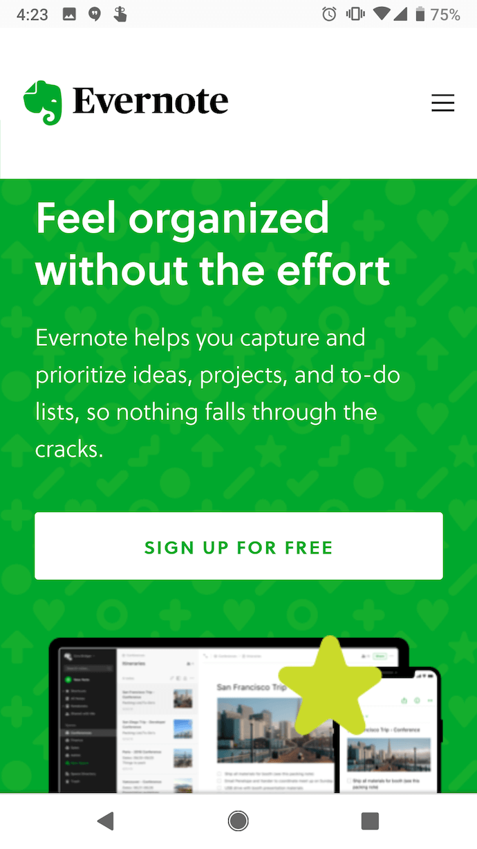 evernote-mobile-website