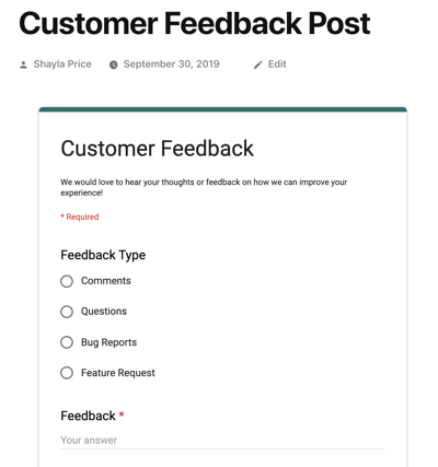 example of add Google Forms WordPress