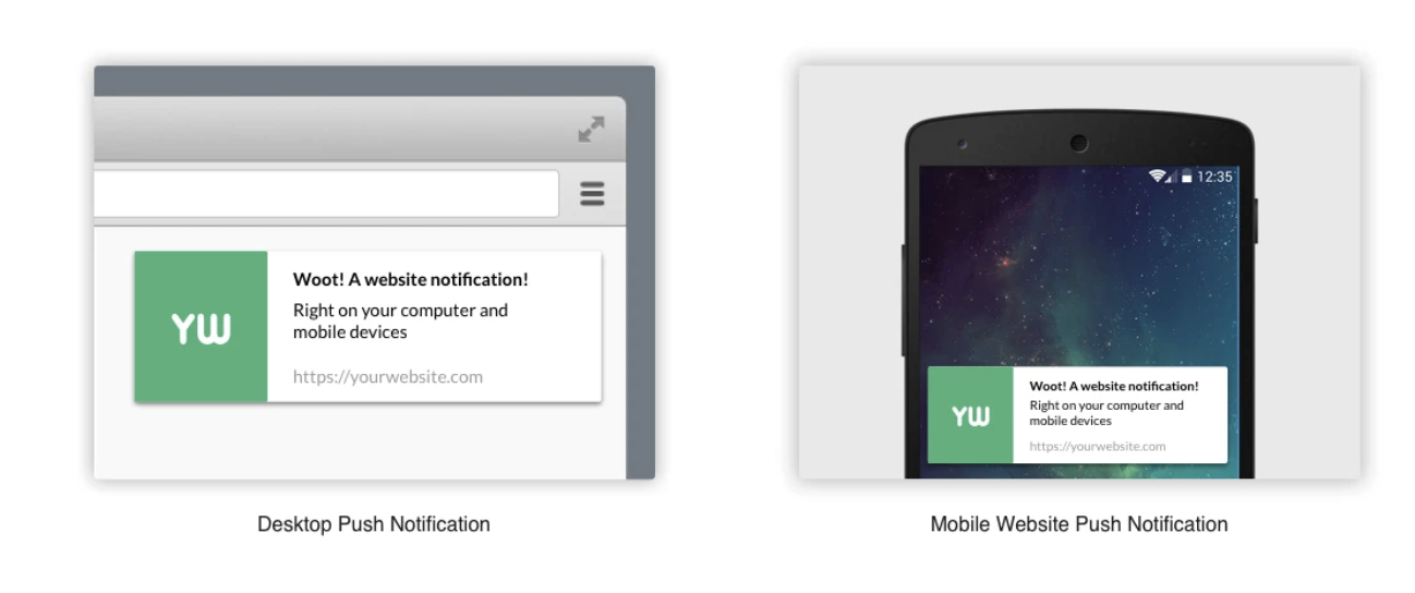example of adding web push notification to your WordPress site