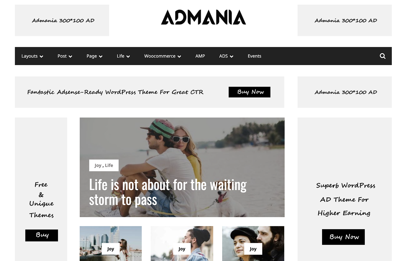 example of Admania theme increase ads revenue