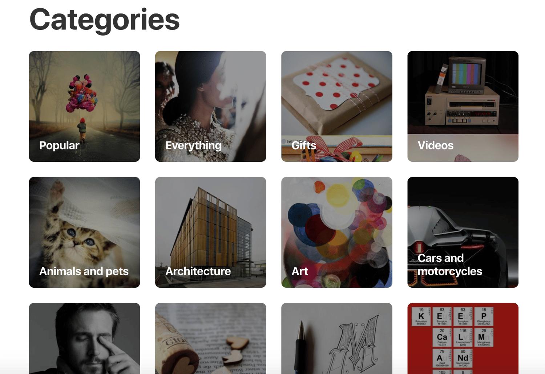 example-pinterest-categories