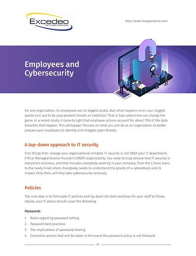 "excedo whitepaper example: first page that reads ""employees and cyber security"" and an introduction to the topic"