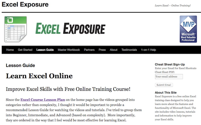 where to learn excel for free