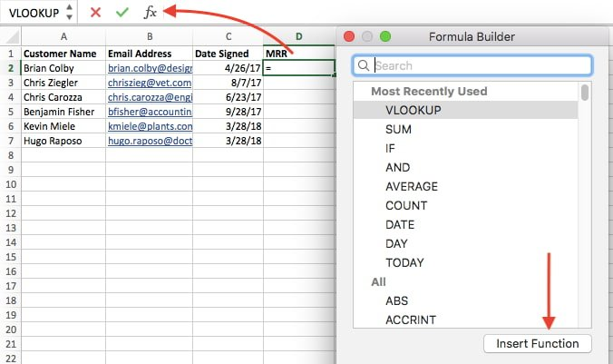 Excel formula builder with VLOOKUP function highlighted