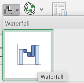 Option to create a waterfall chart in Excel