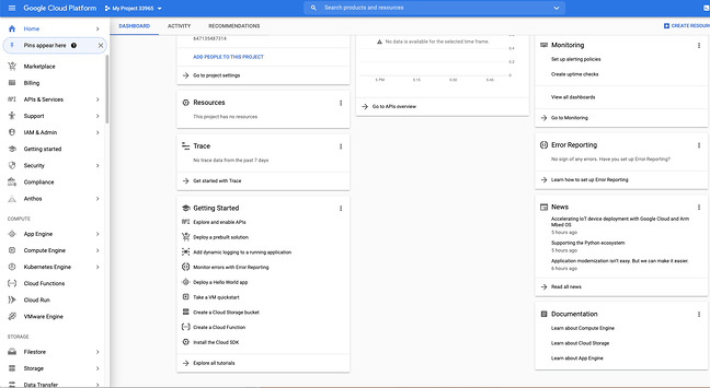 New project dashboard in Google Developers Console