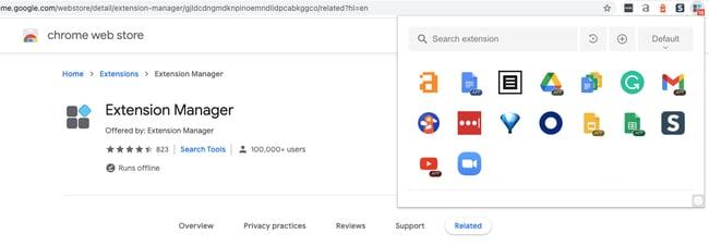 مدیر برنامه های افزودنی افزونه Chrome