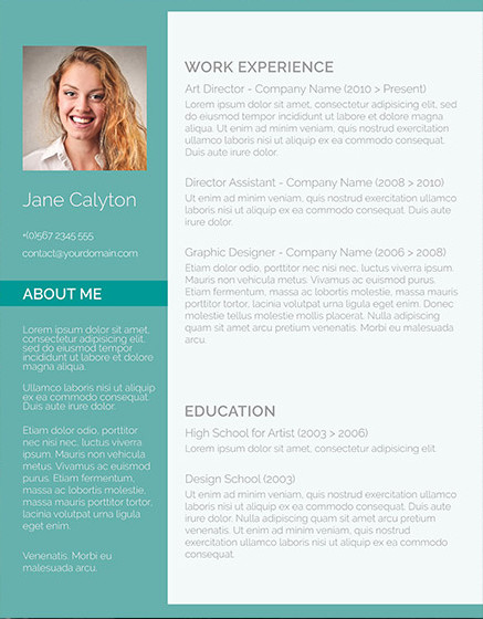 colorful resume template with headshot