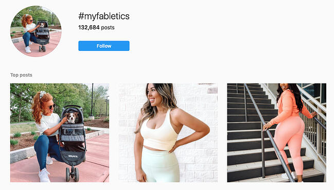 Testimonial example from Fabletics's Instagram hashtags