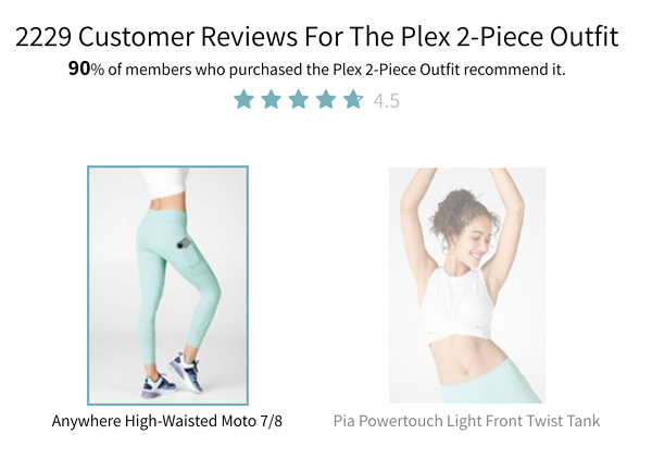 Fabletics social proof on product description page.