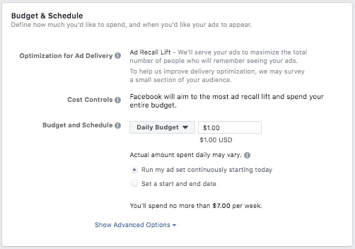facebook ad budget and schedule page