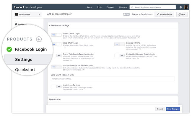 Facebook Login settings on the Facebook Developer dashboard