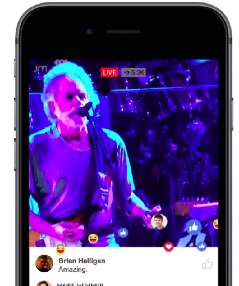 Facebook Live on mobile phone