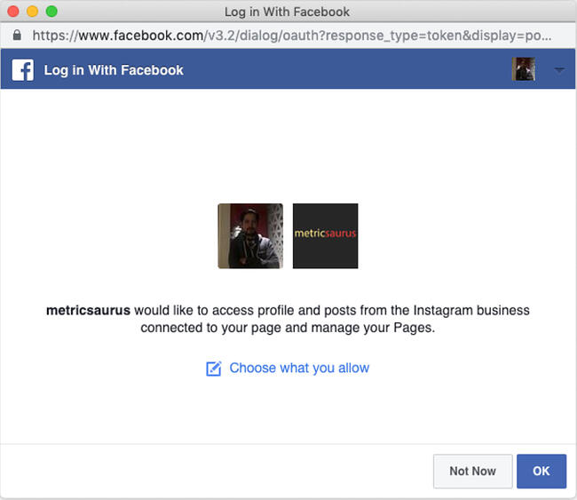Facebook login modal asking for access to an Instagram business profile