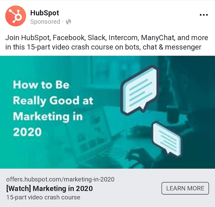 Facebook Network Native ad by HubSpot offering a course on how to be really good at marketing in 2020