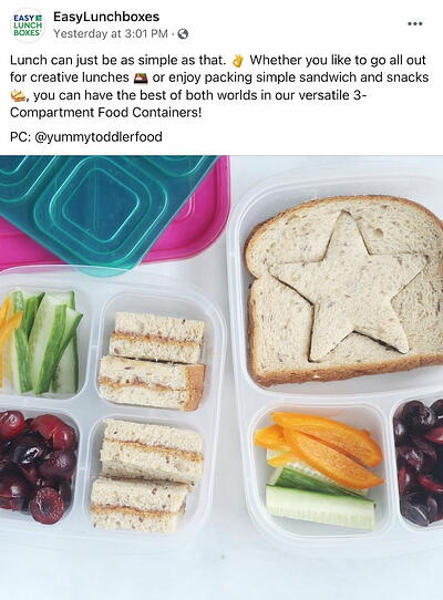 Facebook post from EasyLunchboxes' FB Page