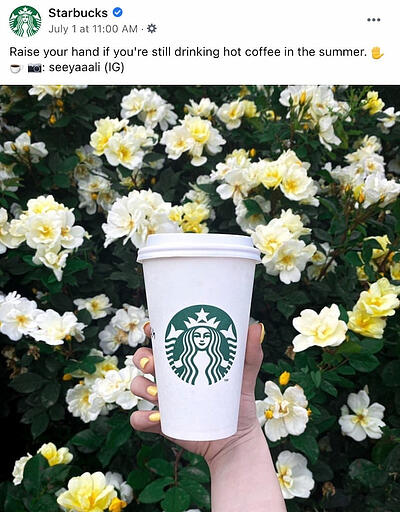 Facebook post from Starbucks' FB Page