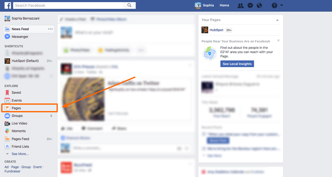 how to see news feed on facebook page