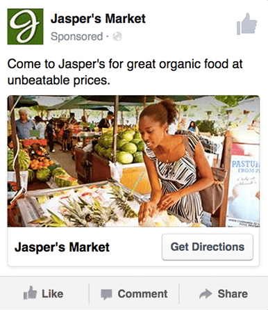 Facebook ad template for reach ad and local awareness