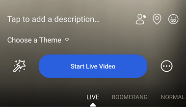"Blue ""Start Live Video"" button in Facebook mobile app"