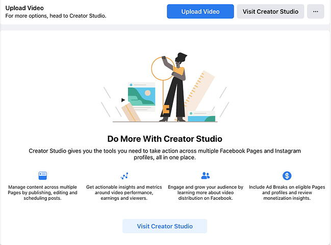 """Facebook Creator Studio with a blue button that says """"Upload Video"""""""
