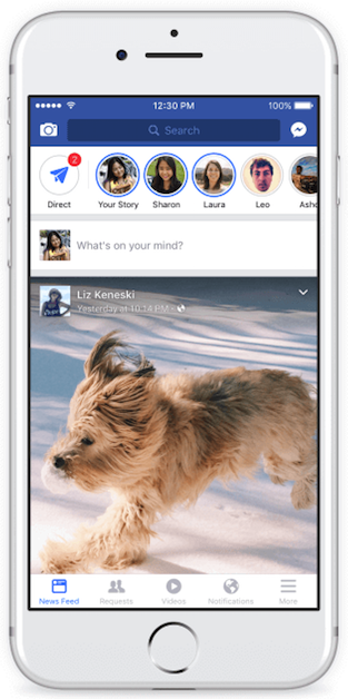 Facebook Stories shown on the newsfeed.