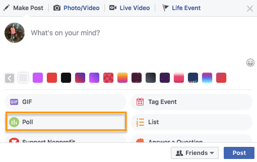 how to create a poll on facebook step 1