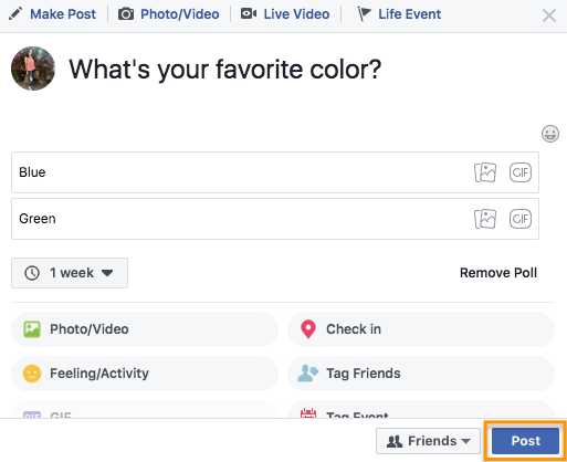how to create a poll on facebook step 2