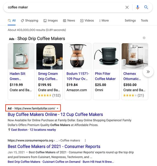 search engine result page for the query of coffee maker